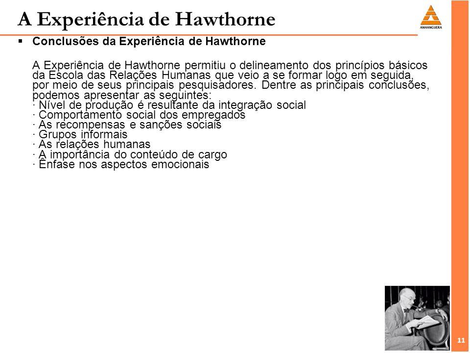 11 A Experiência de Hawthorne Conclusões da Experiência de Hawthorne A Experiência de Hawthorne permitiu o delineamento dos princípios básicos da Esco