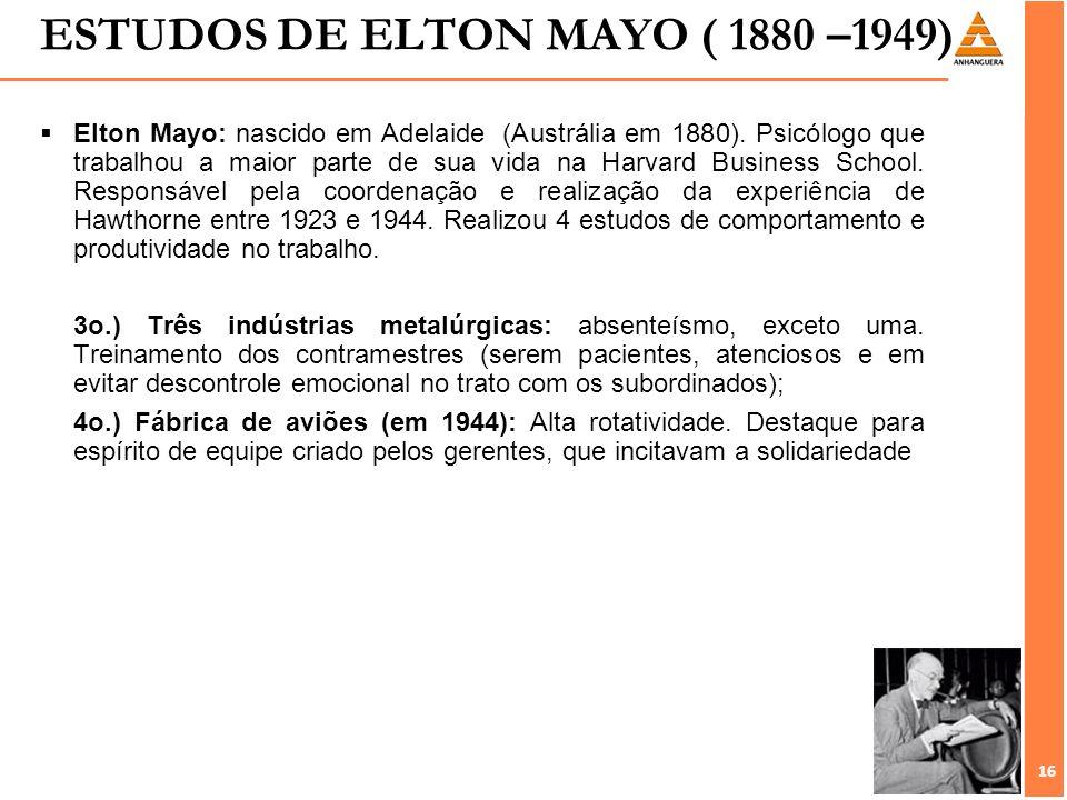 16 Elton Mayo: nascido em Adelaide (Austrália em 1880). Psicólogo que trabalhou a maior parte de sua vida na Harvard Business School. Responsável pela