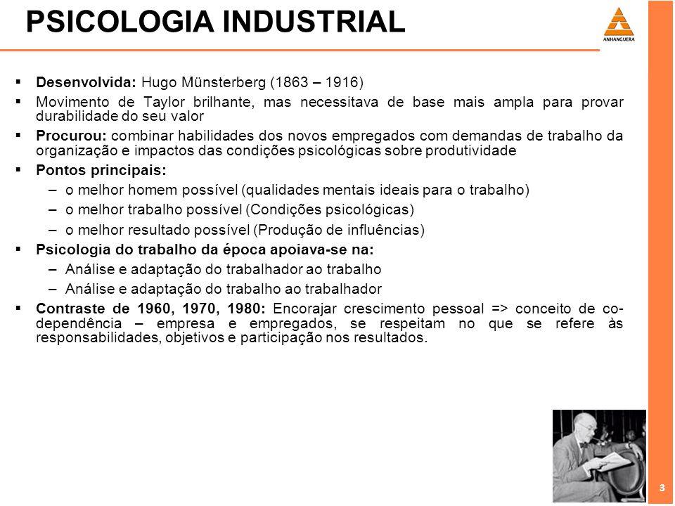 3 3 PSICOLOGIA INDUSTRIAL Desenvolvida: Hugo Münsterberg (1863 – 1916) Movimento de Taylor brilhante, mas necessitava de base mais ampla para provar d