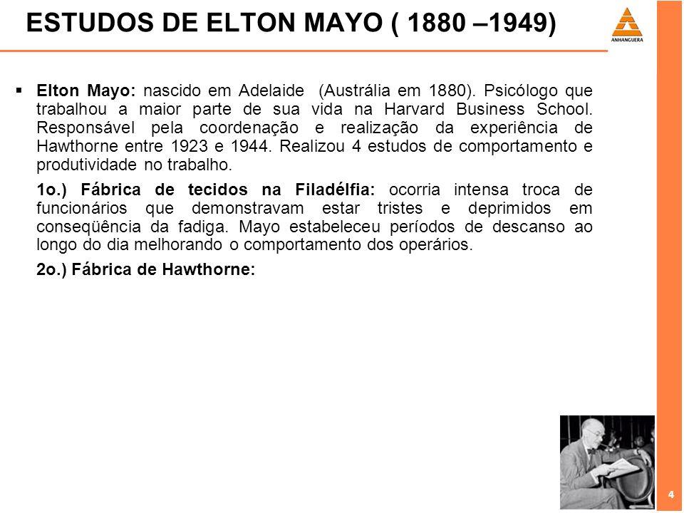 4 4 ESTUDOS DE ELTON MAYO ( 1880 –1949) Elton Mayo: nascido em Adelaide (Austrália em 1880). Psicólogo que trabalhou a maior parte de sua vida na Harv