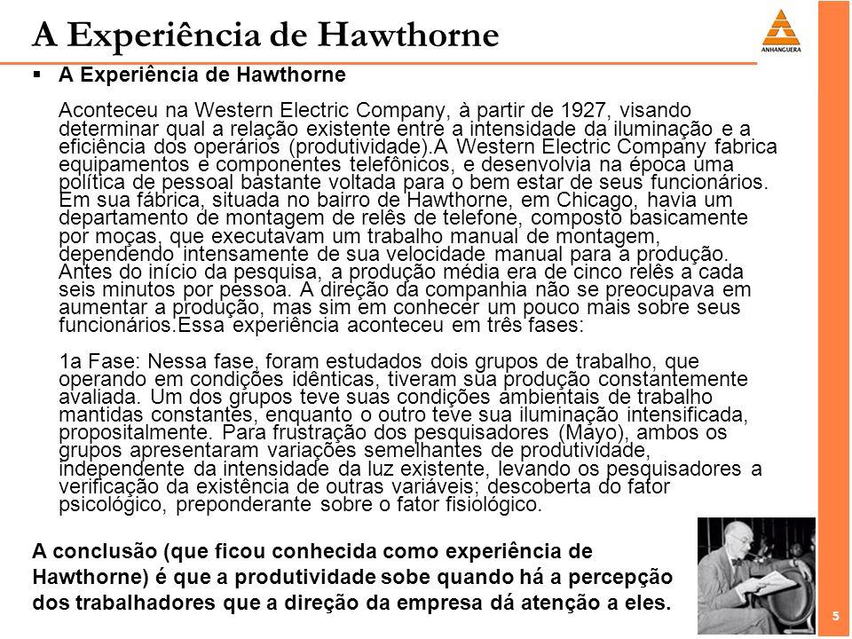 5 5 A Experiência de Hawthorne A Experiência de Hawthorne Aconteceu na Western Electric Company, à partir de 1927, visando determinar qual a relação e