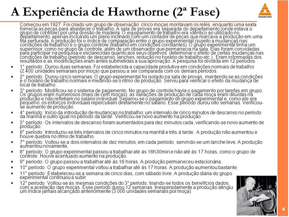 8 8 A Experiência de Hawthorne (2ª Fase) Começou em 1927. Foi criado um grupo de observação: cinco moças montavam os relés, enquanto uma sexta forneci