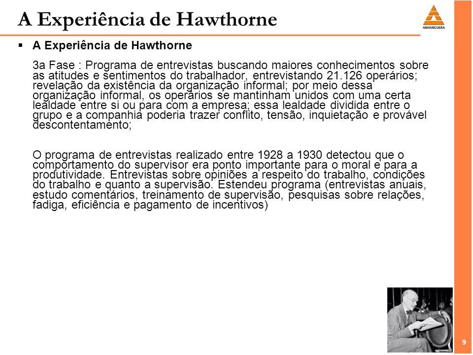 9 9 A Experiência de Hawthorne A Experiência de Hawthorne 3a Fase : Programa de entrevistas buscando maiores conhecimentos sobre as atitudes e sentime