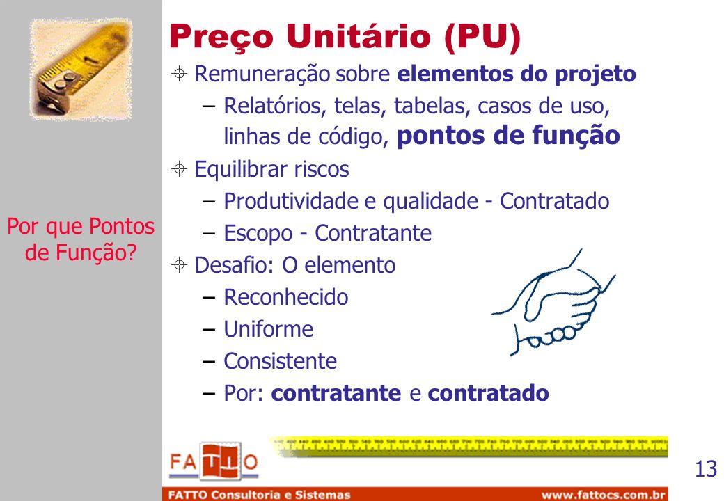 13 Preço Unitário (PU) Remuneração sobre elementos do projeto –Relatórios, telas, tabelas, casos de uso, linhas de código, pontos de função Equilibrar