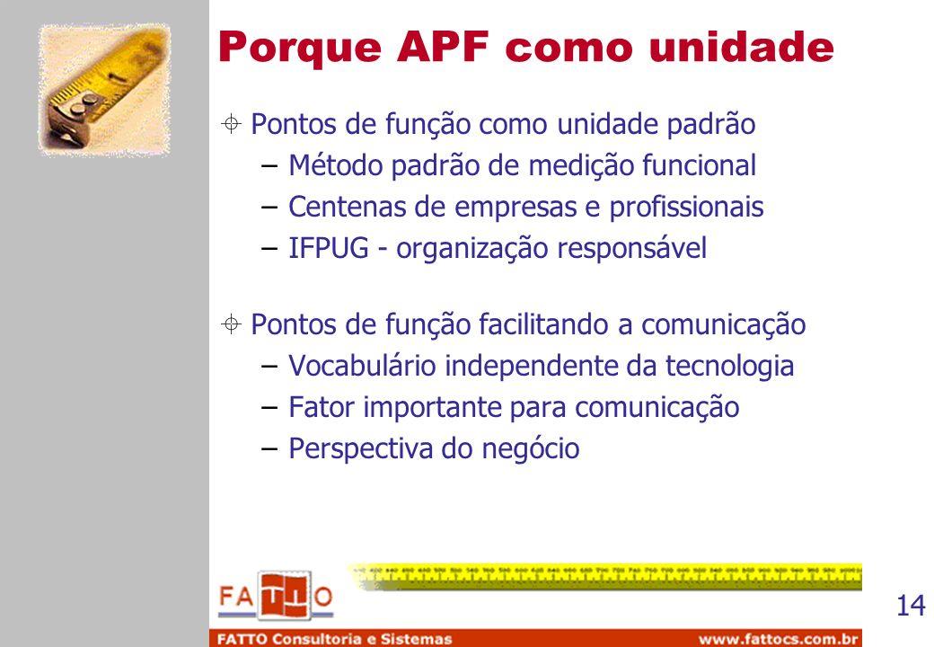 14 Porque APF como unidade Pontos de função como unidade padrão –Método padrão de medição funcional –Centenas de empresas e profissionais –IFPUG - org