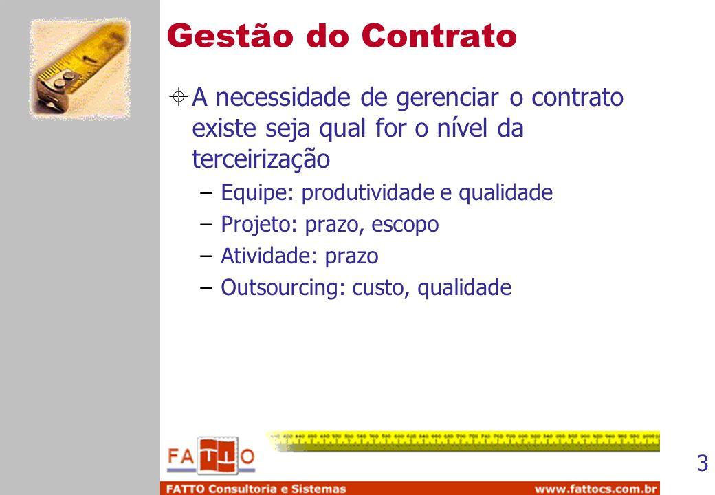 3 Gestão do Contrato A necessidade de gerenciar o contrato existe seja qual for o nível da terceirização –Equipe: produtividade e qualidade –Projeto: