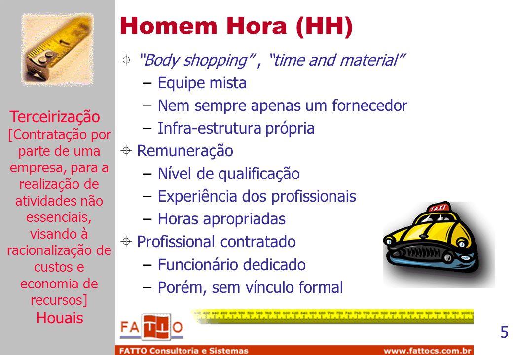 5 Homem Hora (HH) Body shopping, time and material –Equipe mista –Nem sempre apenas um fornecedor –Infra-estrutura própria Remuneração –Nível de quali