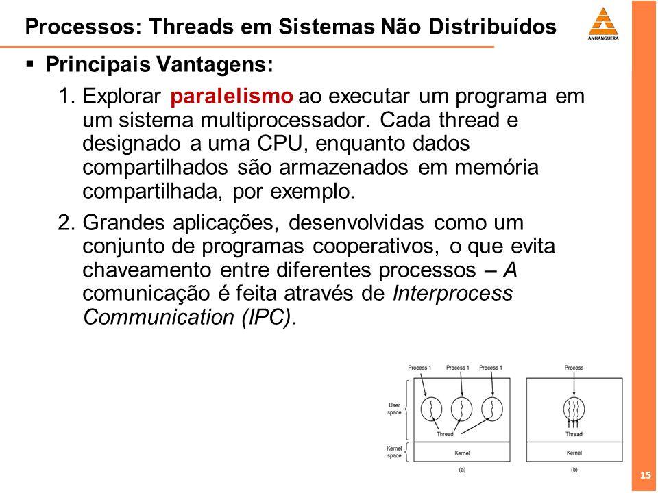 15 Processos: Threads em Sistemas Não Distribuídos Principais Vantagens: Explorar paralelismo ao executar um programa em um sistema multiprocessador.