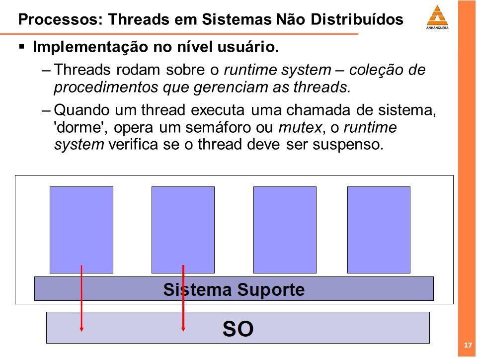 17 Processos: Threads em Sistemas Não Distribuídos Implementação no nível usuário. –Threads rodam sobre o runtime system – coleção de procedimentos qu