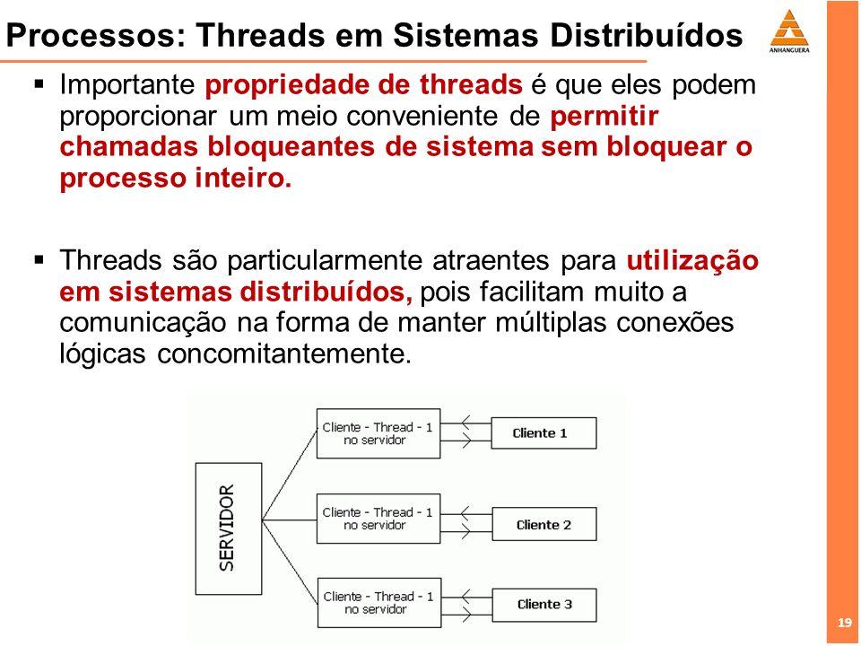 19 Processos: Threads em Sistemas Distribuídos Importante propriedade de threads é que eles podem proporcionar um meio conveniente de permitir chamada