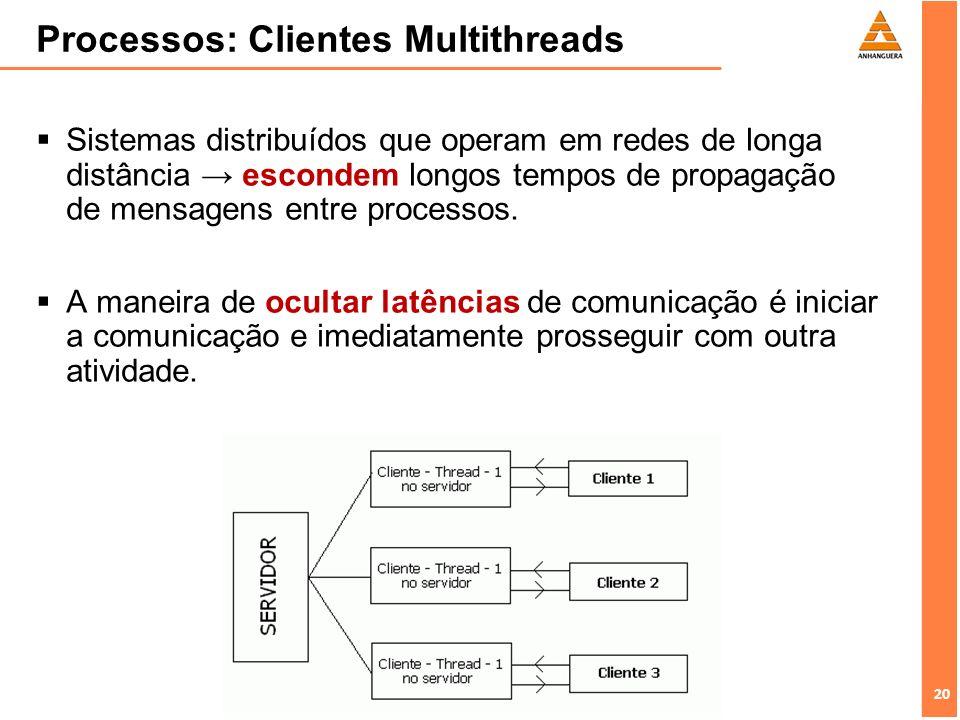 20 Processos: Clientes Multithreads Sistemas distribuídos que operam em redes de longa distância escondem longos tempos de propagação de mensagens ent