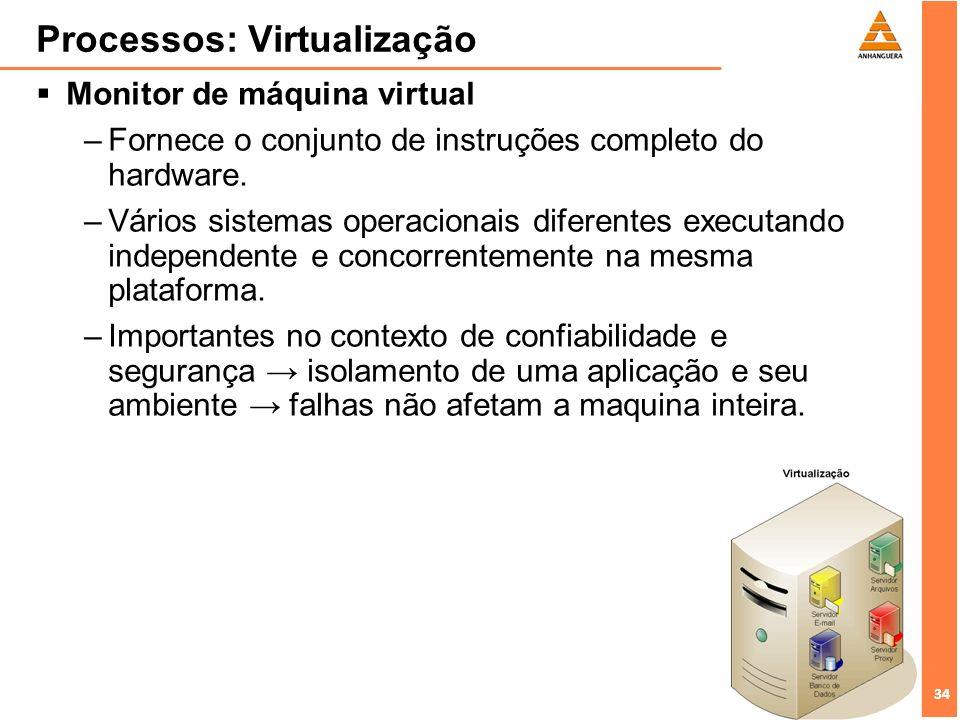 34 Processos: Virtualização Monitor de máquina virtual –Fornece o conjunto de instruções completo do hardware. –Vários sistemas operacionais diferente