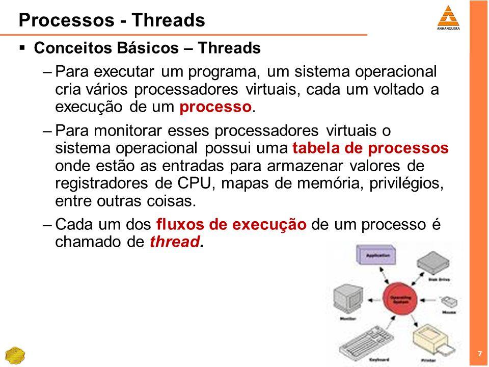 7 7 Processos - Threads Conceitos Básicos – Threads –Para executar um programa, um sistema operacional cria vários processadores virtuais, cada um vol