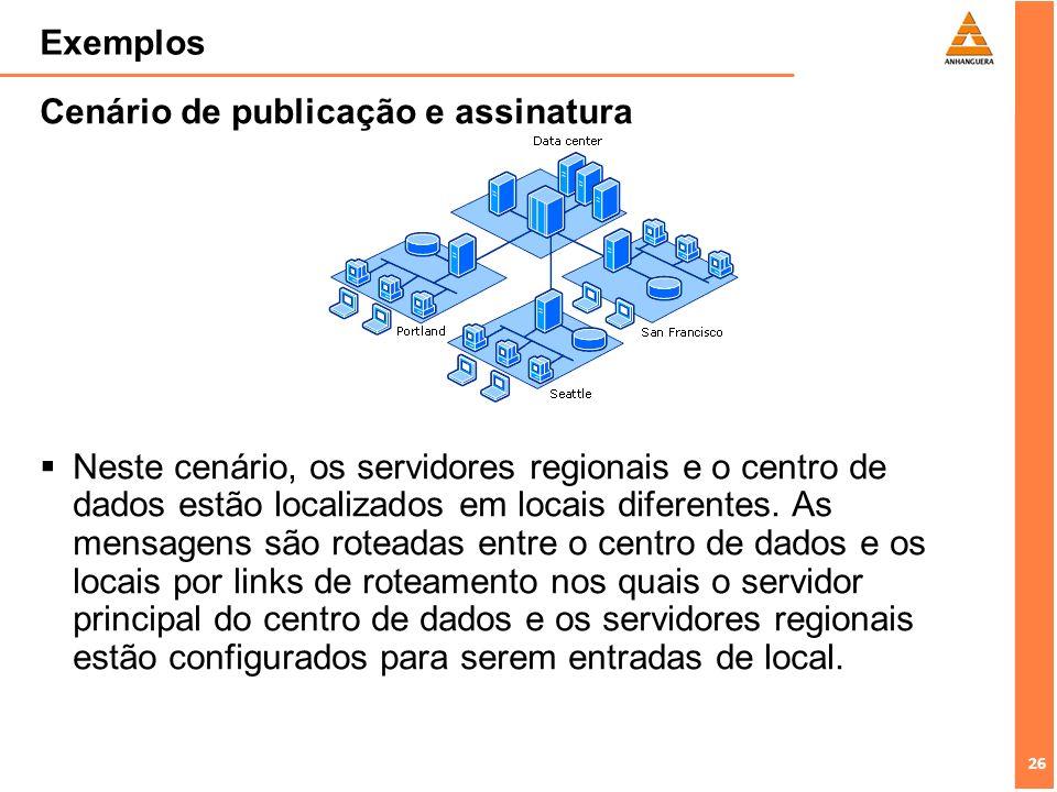 26 Exemplos Cenário de publicação e assinatura Neste cenário, os servidores regionais e o centro de dados estão localizados em locais diferentes. As m
