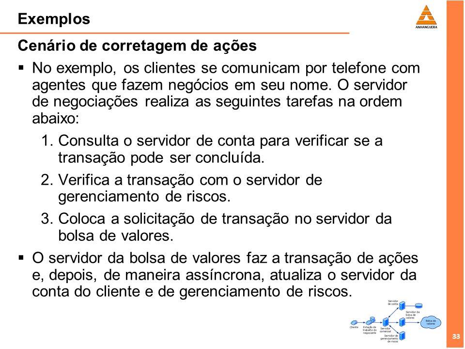 33 Exemplos Cenário de corretagem de ações No exemplo, os clientes se comunicam por telefone com agentes que fazem negócios em seu nome. O servidor de