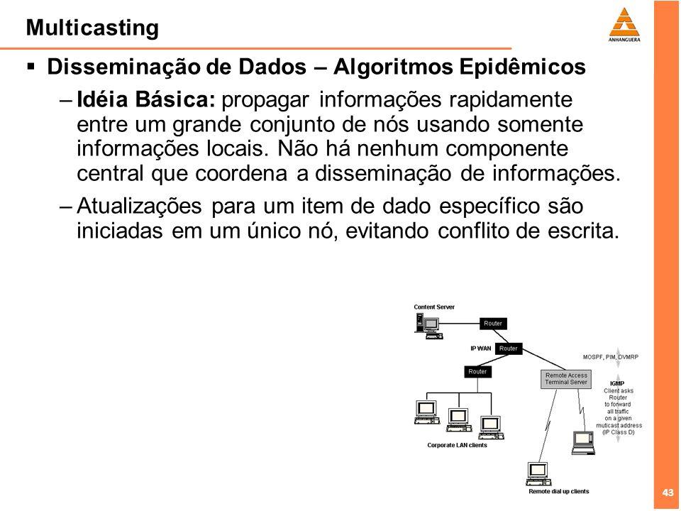 43 Multicasting Disseminação de Dados – Algoritmos Epidêmicos –Idéia Básica: propagar informações rapidamente entre um grande conjunto de nós usando s