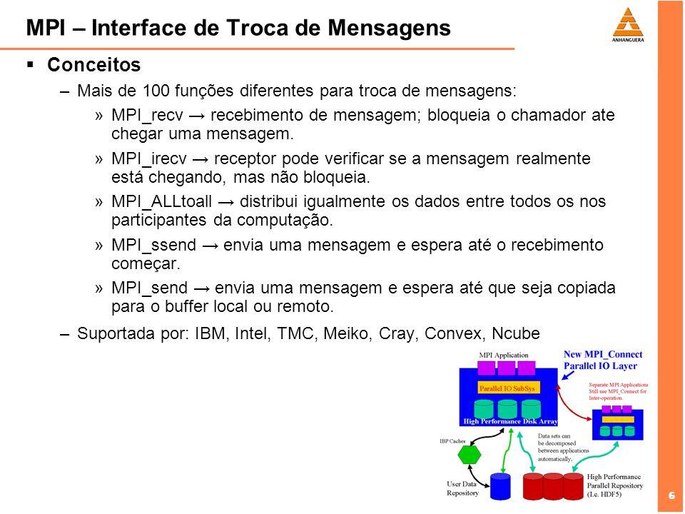 6 6 MPI – Interface de Troca de Mensagens Conceitos –Mais de 100 funções diferentes para troca de mensagens: »MPI_recv recebimento de mensagem; bloque