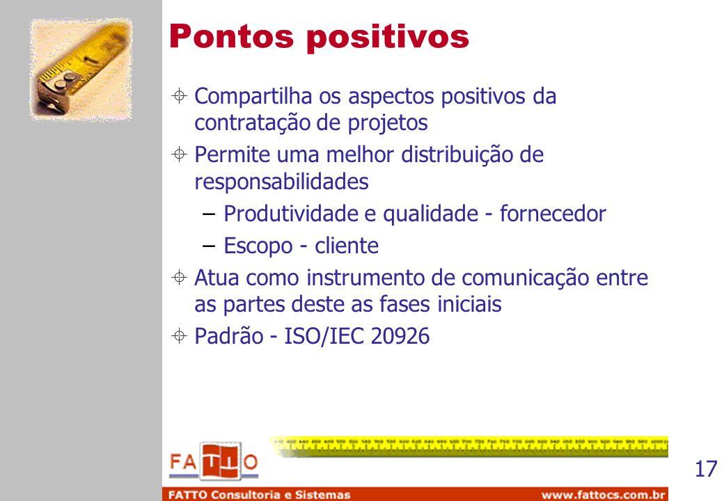 17 Pontos positivos Compartilha os aspectos positivos da contratação de projetos Permite uma melhor distribuição de responsabilidades –Produtividade e