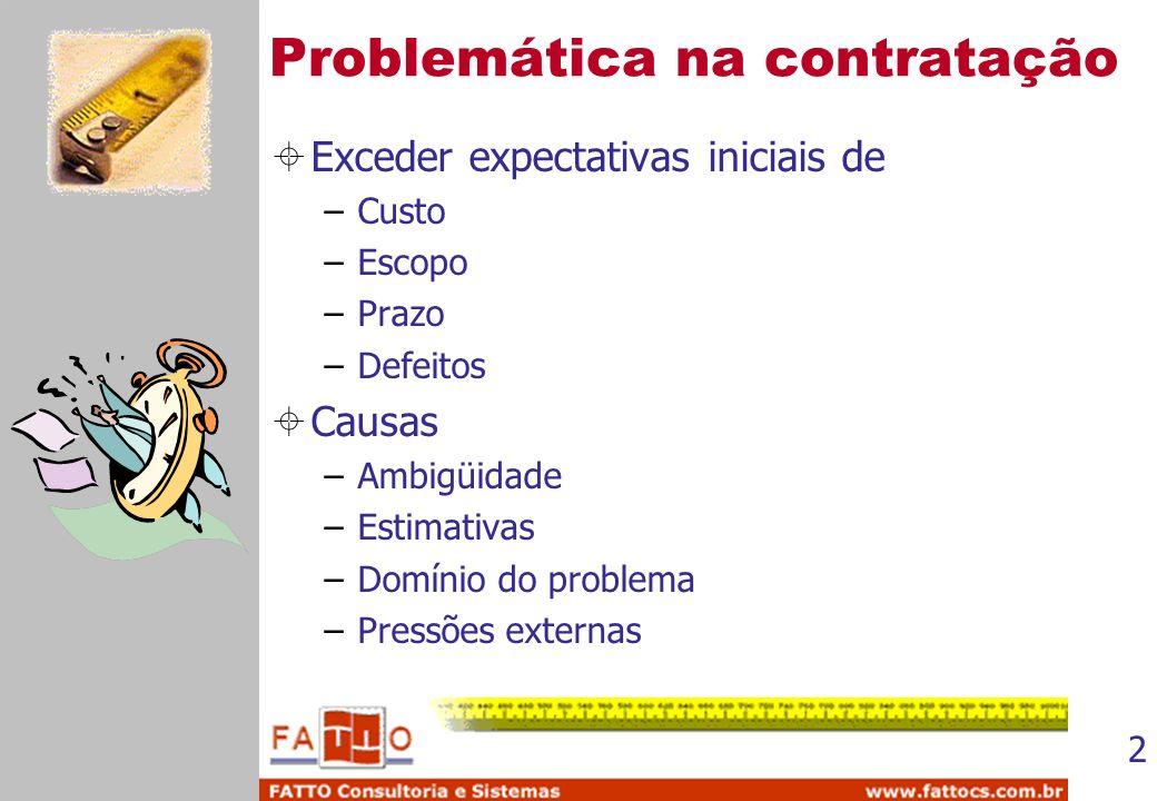 2 Problemática na contratação Exceder expectativas iniciais de –Custo –Escopo –Prazo –Defeitos Causas –Ambigüidade –Estimativas –Domínio do problema –