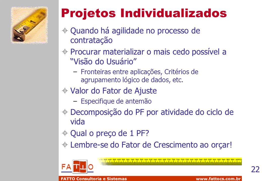 22 Projetos Individualizados Quando há agilidade no processo de contratação Procurar materializar o mais cedo possível a Visão do Usuário –Fronteiras
