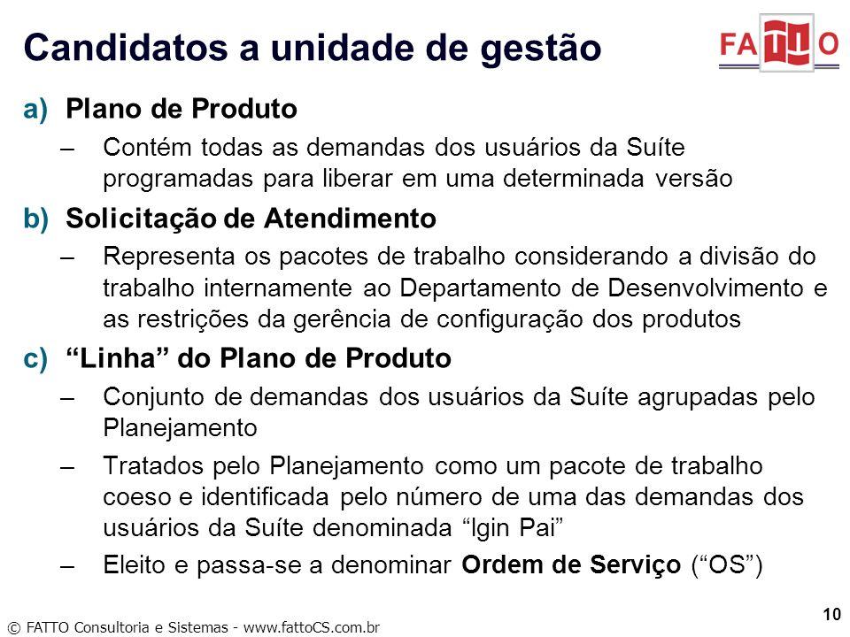 © FATTO Consultoria e Sistemas - www.fattoCS.com.br a)Plano de Produto –Contém todas as demandas dos usuários da Suíte programadas para liberar em uma