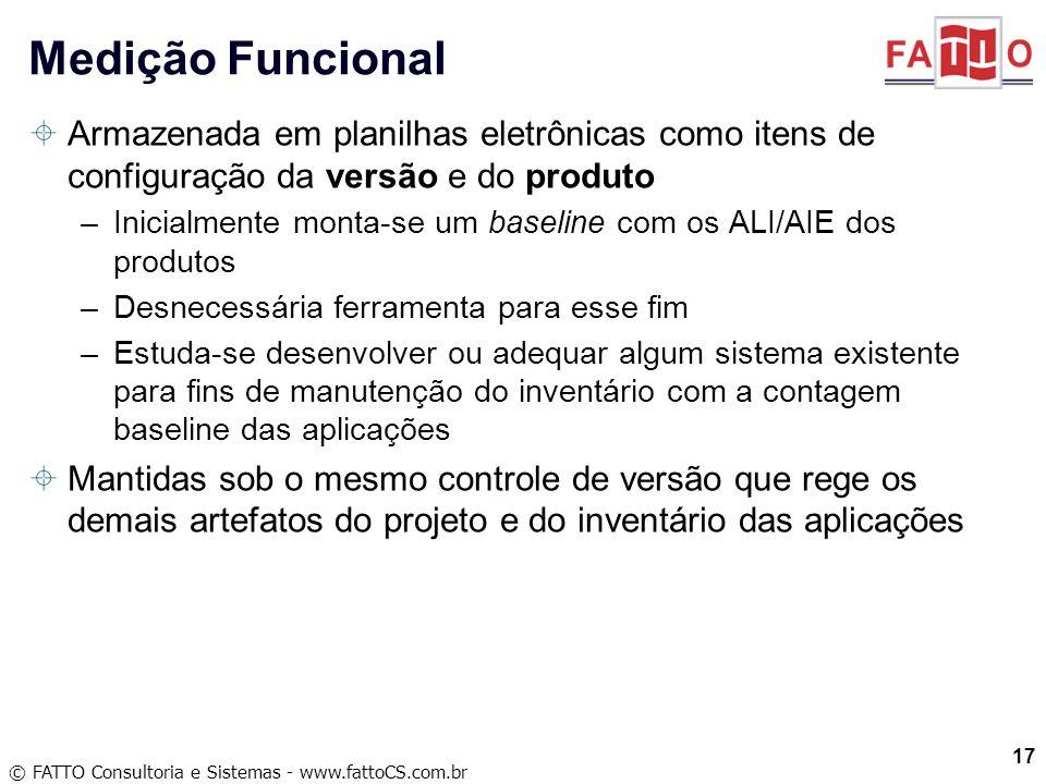 © FATTO Consultoria e Sistemas - www.fattoCS.com.br Armazenada em planilhas eletrônicas como itens de configuração da versão e do produto –Inicialment
