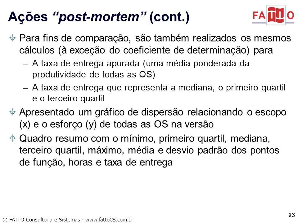 © FATTO Consultoria e Sistemas - www.fattoCS.com.br Para fins de comparação, são também realizados os mesmos cálculos (à exceção do coeficiente de det