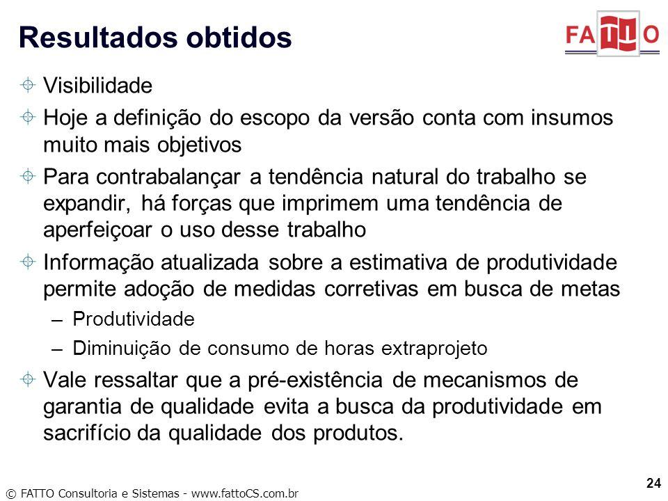 © FATTO Consultoria e Sistemas - www.fattoCS.com.br Visibilidade Hoje a definição do escopo da versão conta com insumos muito mais objetivos Para cont