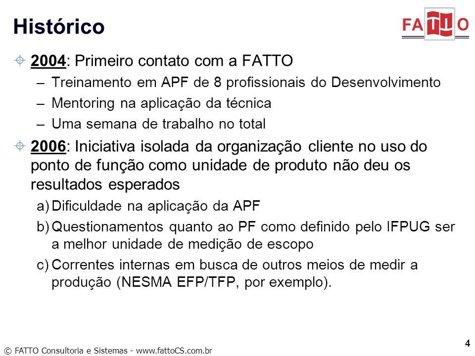 © FATTO Consultoria e Sistemas - www.fattoCS.com.br 2004: Primeiro contato com a FATTO –Treinamento em APF de 8 profissionais do Desenvolvimento –Ment