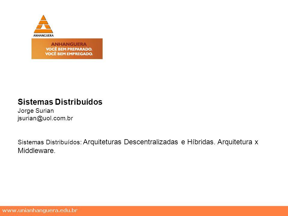 Sistemas Distribuídos Jorge Surian jsurian@uol.com.br Sistemas Distribuídos: Arquiteturas Descentralizadas e Híbridas.
