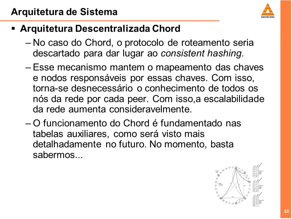 12 Arquitetura de Sistema Arquitetura Descentralizada Chord –No caso do Chord, o protocolo de roteamento seria descartado para dar lugar ao consistent hashing.