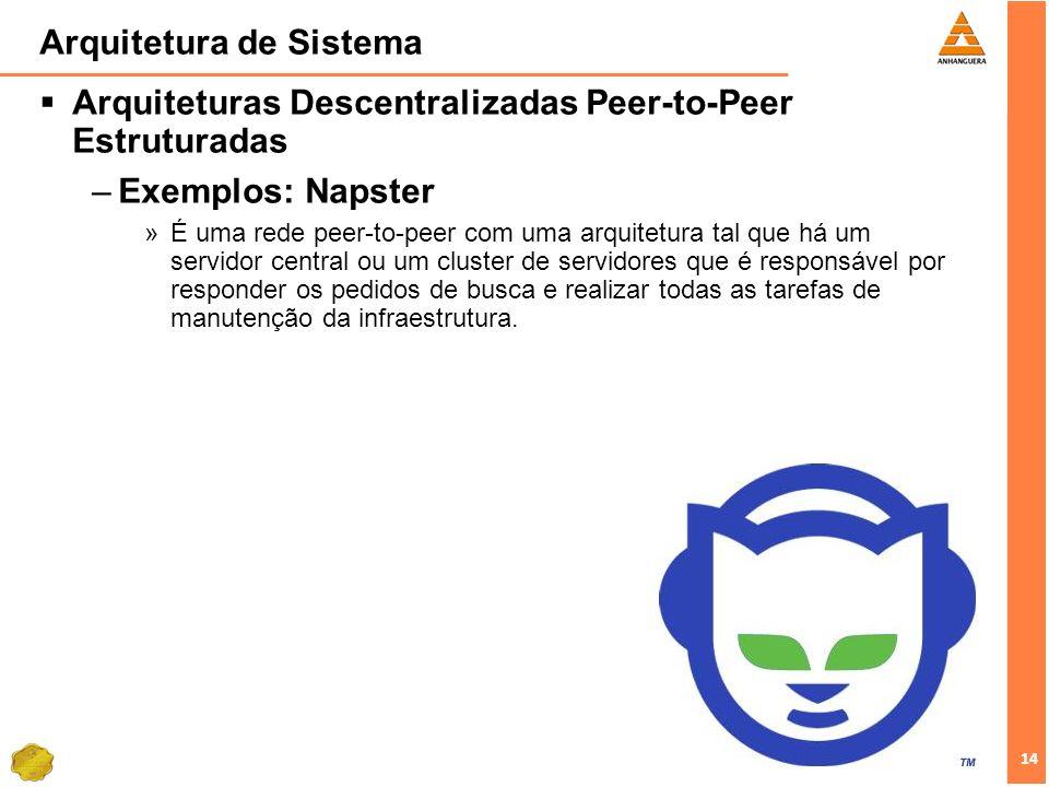 14 Arquitetura de Sistema Arquiteturas Descentralizadas Peer-to-Peer Estruturadas –Exemplos: Napster »É uma rede peer-to-peer com uma arquitetura tal que há um servidor central ou um cluster de servidores que é responsável por responder os pedidos de busca e realizar todas as tarefas de manutenção da infraestrutura.