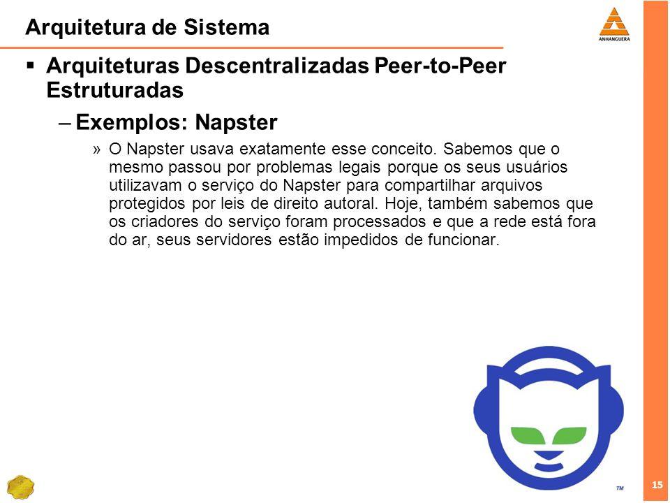 15 Arquitetura de Sistema Arquiteturas Descentralizadas Peer-to-Peer Estruturadas –Exemplos: Napster »O Napster usava exatamente esse conceito.