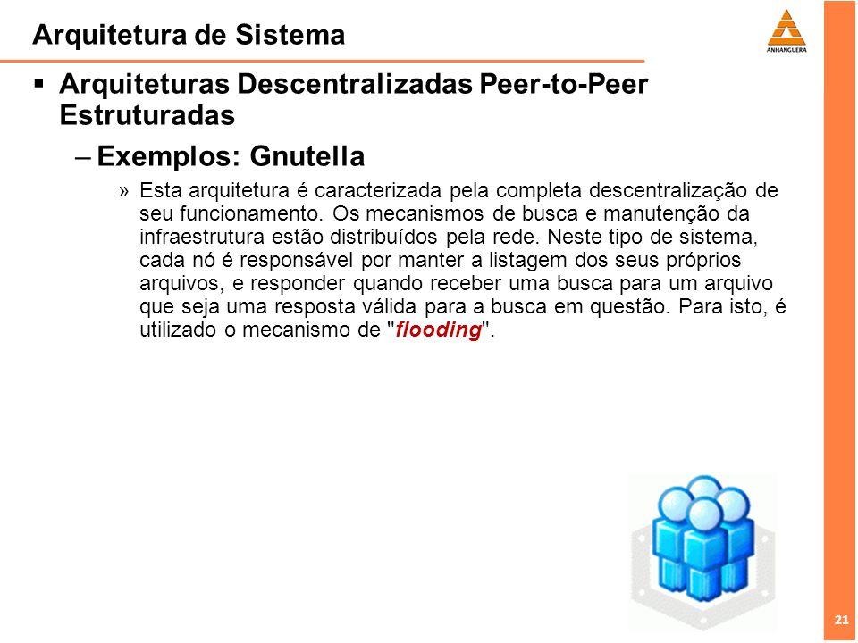 21 Arquitetura de Sistema Arquiteturas Descentralizadas Peer-to-Peer Estruturadas –Exemplos: Gnutella »Esta arquitetura é caracterizada pela completa descentralização de seu funcionamento.