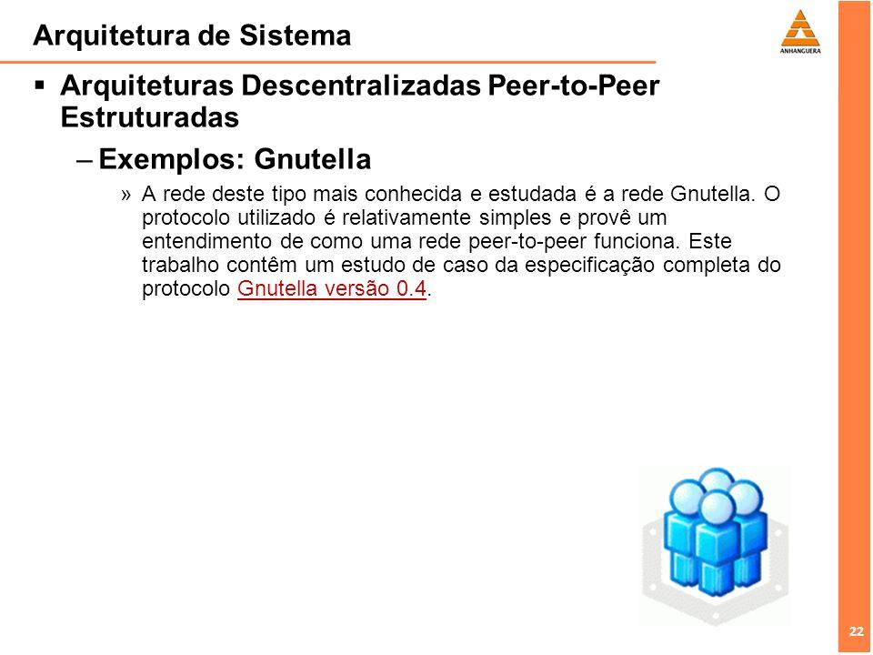 22 Arquitetura de Sistema Arquiteturas Descentralizadas Peer-to-Peer Estruturadas –Exemplos: Gnutella »A rede deste tipo mais conhecida e estudada é a rede Gnutella.