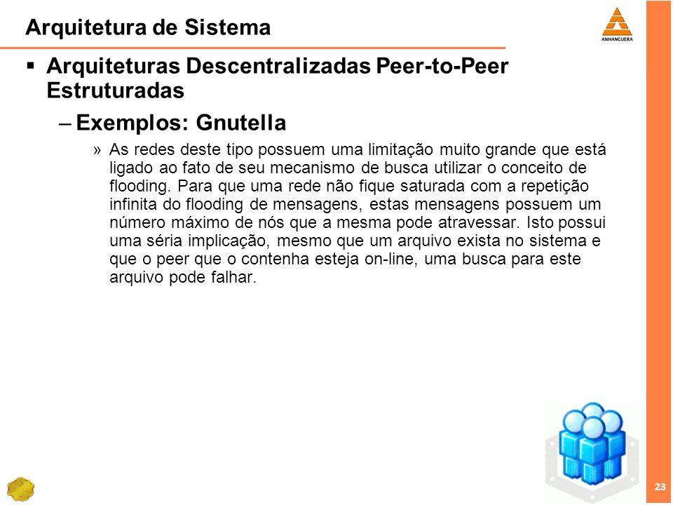 23 Arquitetura de Sistema Arquiteturas Descentralizadas Peer-to-Peer Estruturadas –Exemplos: Gnutella »As redes deste tipo possuem uma limitação muito grande que está ligado ao fato de seu mecanismo de busca utilizar o conceito de flooding.