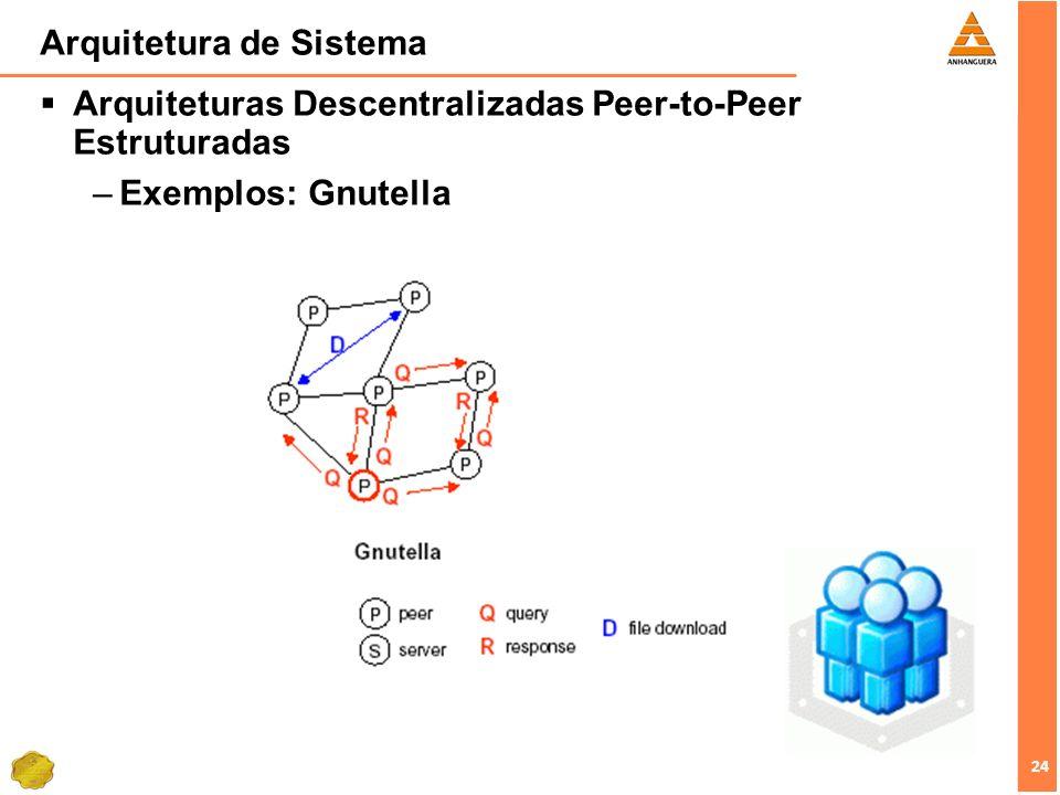 24 Arquitetura de Sistema Arquiteturas Descentralizadas Peer-to-Peer Estruturadas –Exemplos: Gnutella