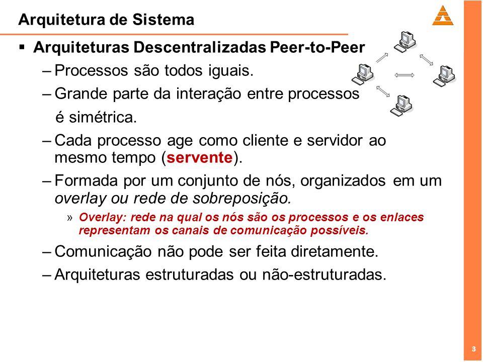3 3 Arquitetura de Sistema Arquiteturas Descentralizadas Peer-to-Peer –Processos são todos iguais. –Grande parte da interação entre processos é simétr