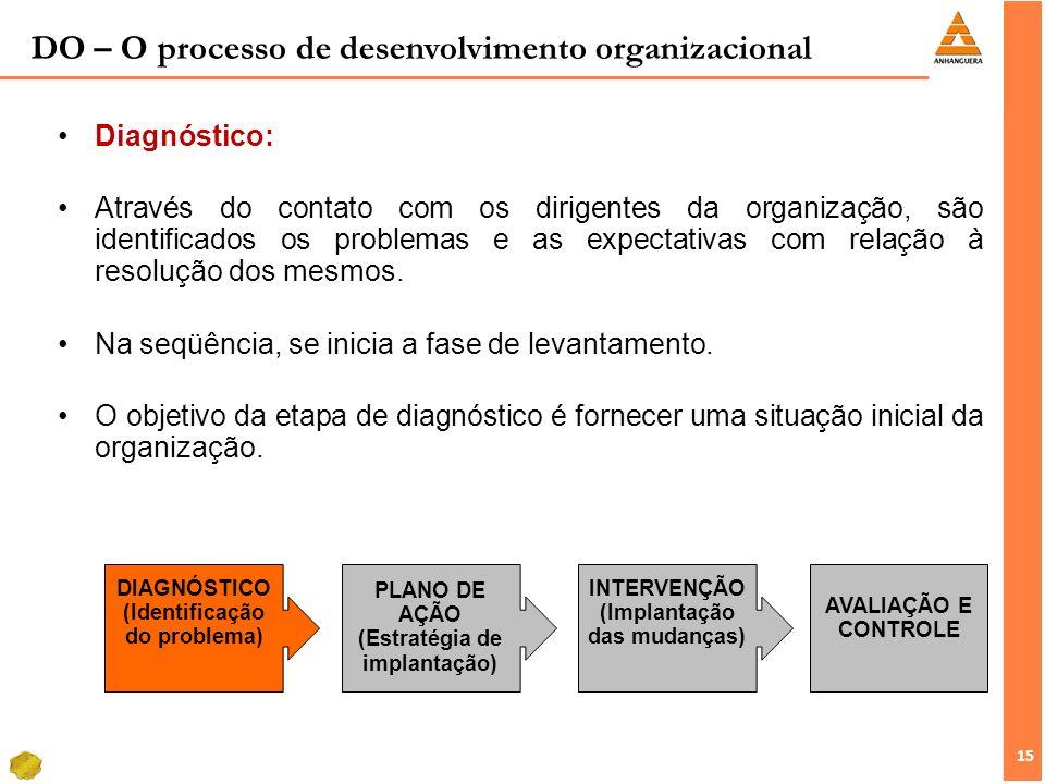15 Diagnóstico: Através do contato com os dirigentes da organização, são identificados os problemas e as expectativas com relação à resolução dos mesm