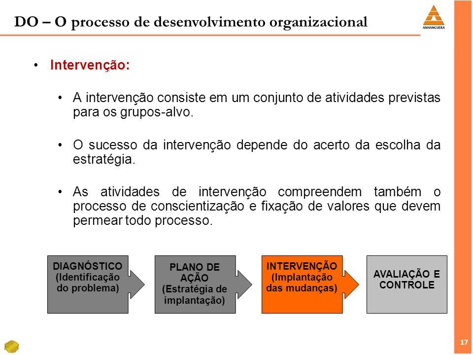 17 Intervenção: A intervenção consiste em um conjunto de atividades previstas para os grupos-alvo. O sucesso da intervenção depende do acerto da escol