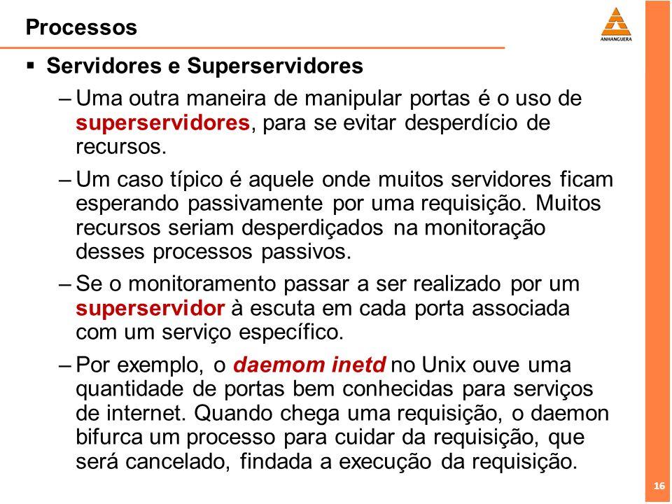16 Processos Servidores e Superservidores –Uma outra maneira de manipular portas é o uso de superservidores, para se evitar desperdício de recursos. –