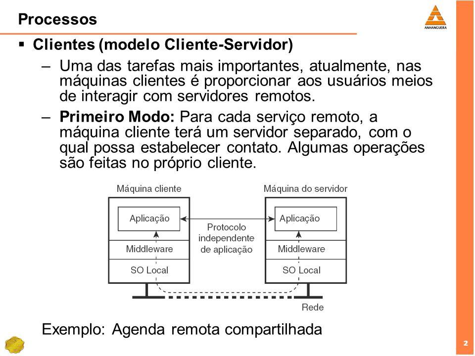 2 2 Processos Clientes (modelo Cliente-Servidor) –Uma das tarefas mais importantes, atualmente, nas máquinas clientes é proporcionar aos usuários meio