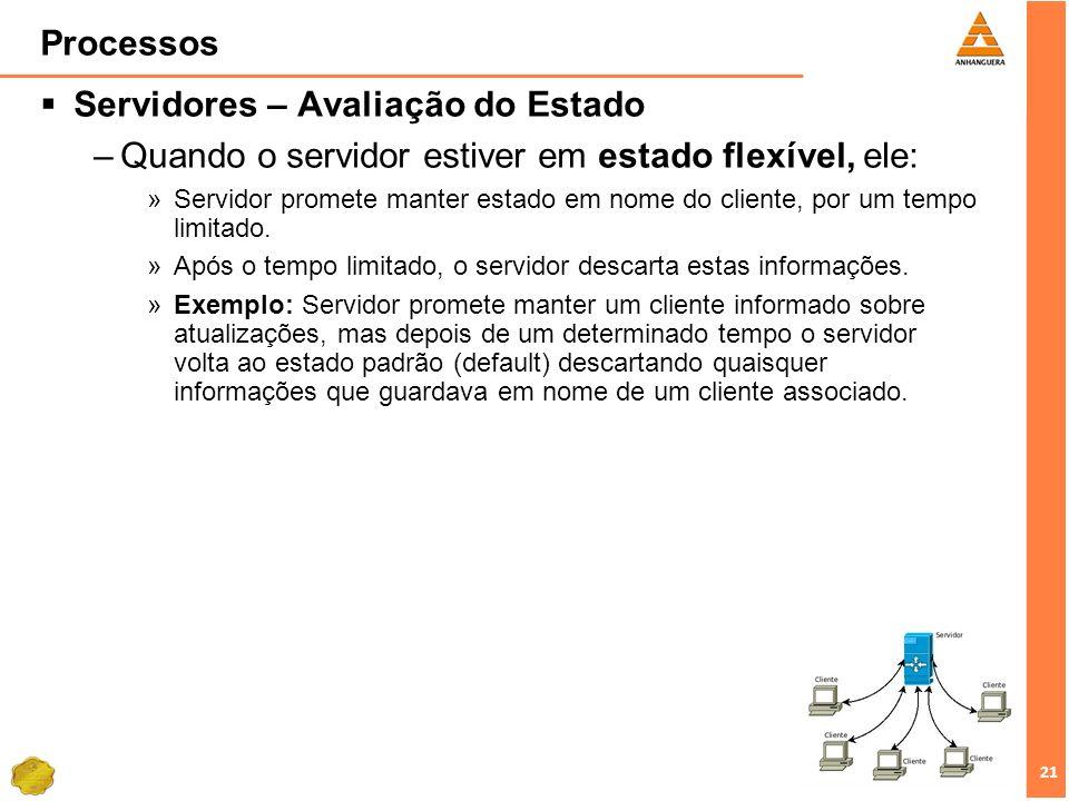 21 Processos Servidores – Avaliação do Estado –Quando o servidor estiver em estado flexível, ele: »Servidor promete manter estado em nome do cliente,