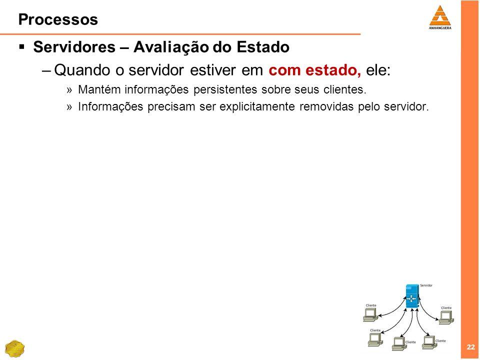 22 Processos Servidores – Avaliação do Estado –Quando o servidor estiver em com estado, ele: »Mantém informações persistentes sobre seus clientes. »In