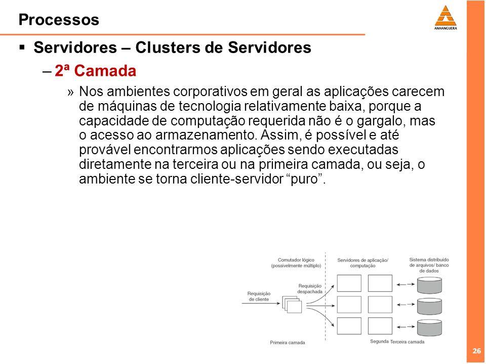 27 Processos Servidores – Clusters de Servidores –3ª Camada »Usualmente composta por servidores de processamento de dados, especialmente servidores de arquivo e banco de dados.
