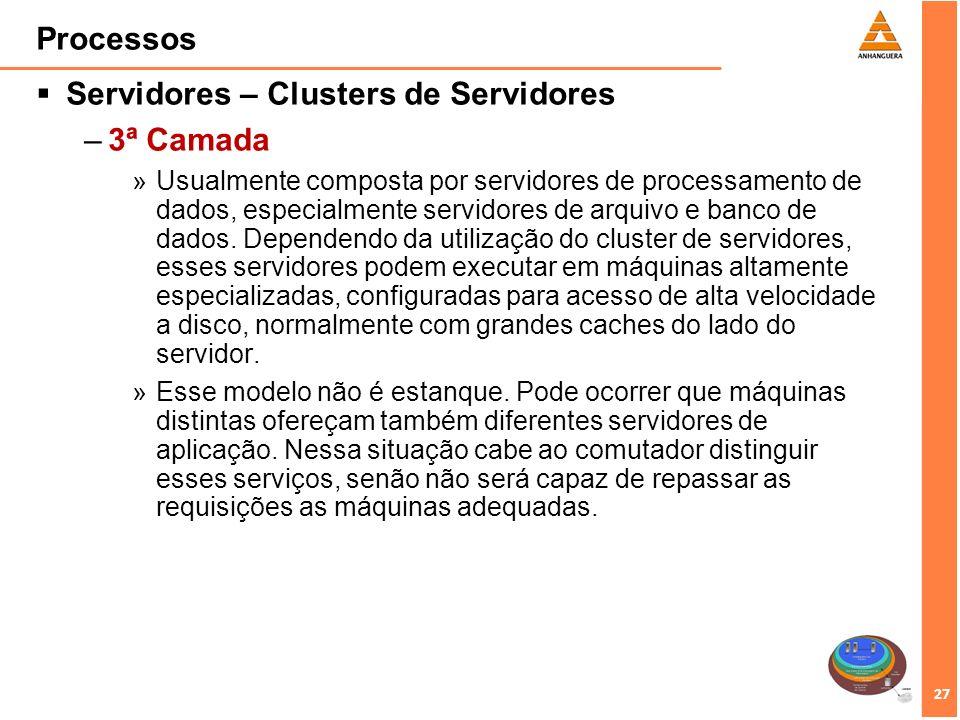 27 Processos Servidores – Clusters de Servidores –3ª Camada »Usualmente composta por servidores de processamento de dados, especialmente servidores de