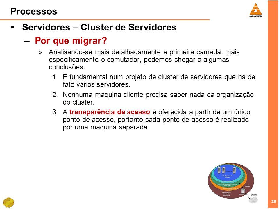 29 Processos Servidores – Cluster de Servidores –Por que migrar? »Analisando-se mais detalhadamente a primeira camada, mais especificamente o comutado