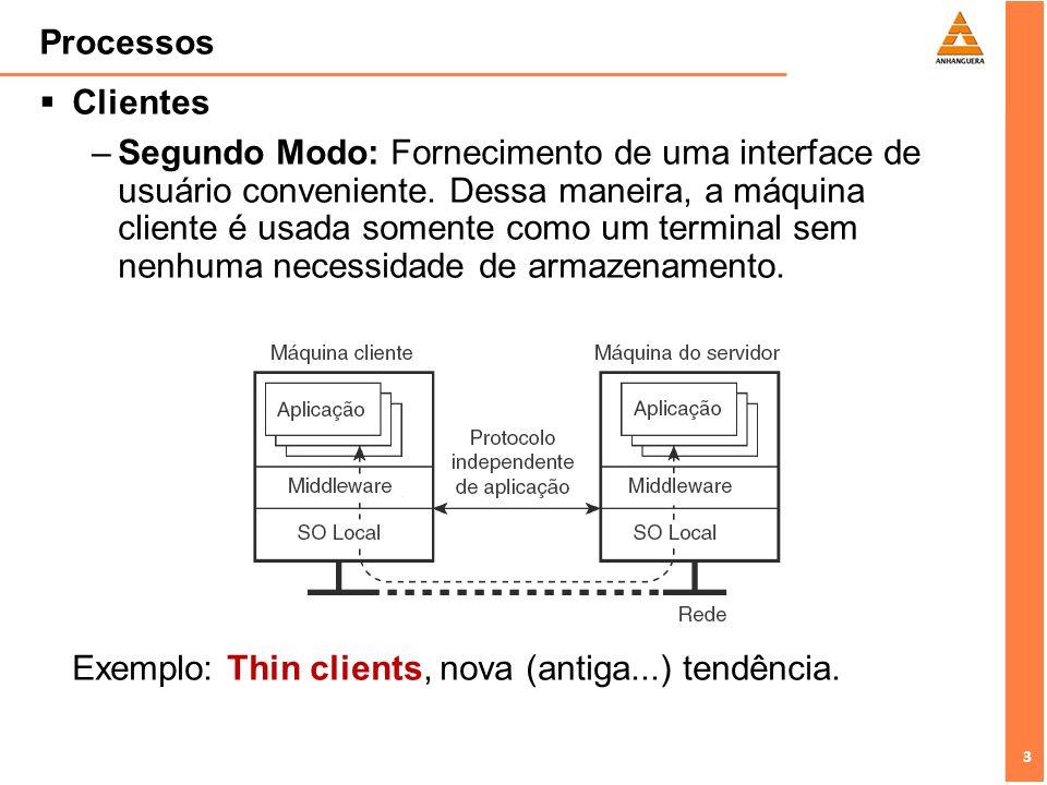 3 3 Processos Clientes –Segundo Modo: Fornecimento de uma interface de usuário conveniente. Dessa maneira, a máquina cliente é usada somente como um t