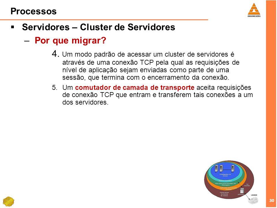 30 Processos Servidores – Cluster de Servidores –Por que migrar? 4. Um modo padrão de acessar um cluster de servidores é através de uma conexão TCP pe