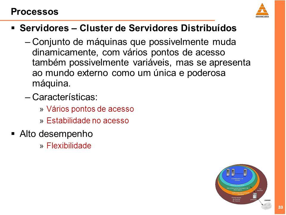 33 Processos Servidores – Cluster de Servidores Distribuídos –Conjunto de máquinas que possivelmente muda dinamicamente, com vários pontos de acesso t